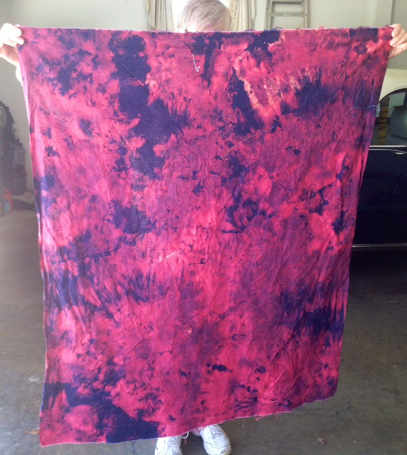 Purple to pink Hand-dyed fabric